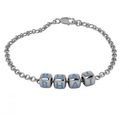 Sterling Silver Bracelet BHAI with hand enamelled blue dice cubes