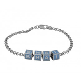"""Sterling Silver Bracelet """"BHAI"""" with blue square cubes"""