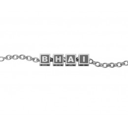 """Sterling Silver Bracelet """"BHAI"""" with oxidized square cubes"""
