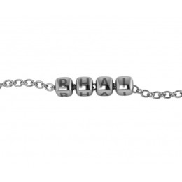 """Sterling Silver Bracelet """"BHAI"""" with oxidized dice cubes"""