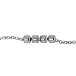 "Sterling Silver Bracelet ""BHAI"" with plain dice cubes"