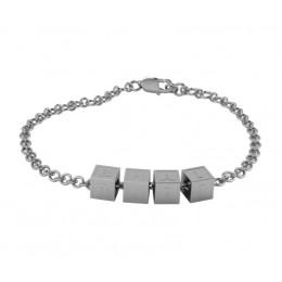 "Sterling Silver Bracelet ""BHAI"" with plain square cubes"