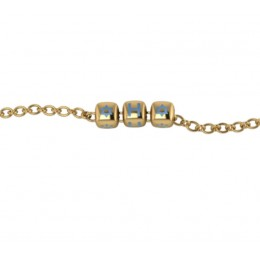 Sterling Silver Bracelet 18 Kt Gold Plated with Name Initials - Blue enamel Dice Cubes