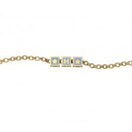 Sterling Silver Bracelet 18 Kt Gold Plated with Name Initials - Blue enamel squares