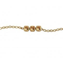 Sterling Silver Bracelet 18 Kt Gold plated with Name Initials - Orange enamel Dice Cubes