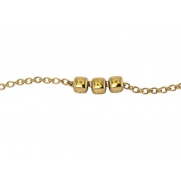 Sterling Silver Bracelet 18 Kt Gold Plated with Name Initials - Yellow enamel Dice Cubes