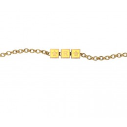 Sterling Silver Bracelet 18 Kt Gold Plated with Name Initials - Yellow enamel squares