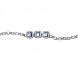 Sterling Silver Bracelet with Name - Blue enamel dice cubes