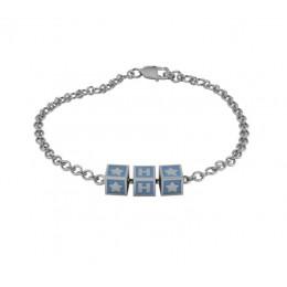 Sterling Silver Bracelet with Name - Blue enamel squares