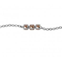 Sterling Silver Bracelet with Name - Orange enamel dice cubes