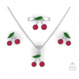 Sterling Silver Cherry Baby Jewellery Set