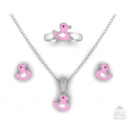 Sterling Silver Duck Baby Jewellery Set