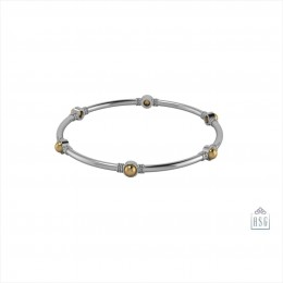 Sterling Silver Embeded Ball Baby Bangle