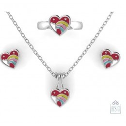 Sterling Silver Heart Baby Jewellery Set