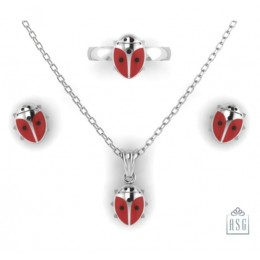 Sterling Silver Lady Bug Baby Jewellery Set