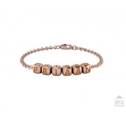 Sterling Silver Name Bracelet for Baby and Child - 18 Kt Pink Gold Plated with Dice Baby Cubes