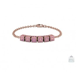 Sterling Silver Name Bracelet for Baby and Child - 18 Kt Pink Gold Plated with Square Baby Cubes