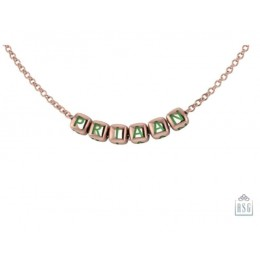 Sterling Silver Name Necklace for Baby & Child - 18 Kt Pink Gold & Dice Baby Cubes