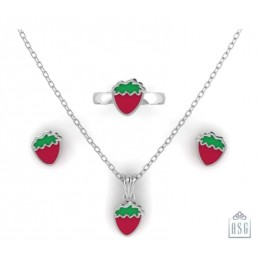 Sterling Silver Strawberry Baby Jewellery Set