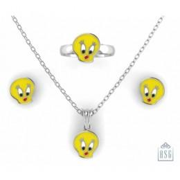 Sterling Silver Tweety Baby Jewellery Set