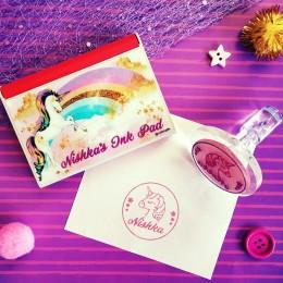 Unicorn Theme Combo Set of Name Stamp + Ink Pad
