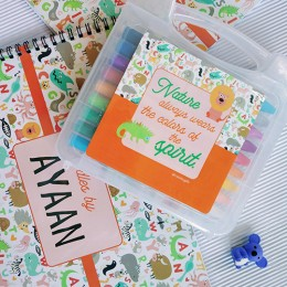 Wild Life Theme Combo Set of Oil Pastels Kit + Drawing Book