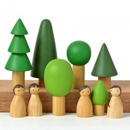 Birch Folk in Evergreen forest