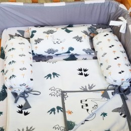 Cot Bedding Set with Organic Baby Dohar Blanket and Cotton Pillow - Dino