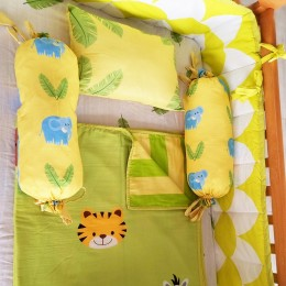 Cot Bedding Set with Organic Baby Dohar Blanket and Cotton Pillow - Jungle Love