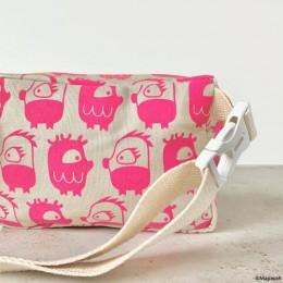 POCKET - Oddling Pink Hand-Printed 100% Cotton Kids Waist Bag