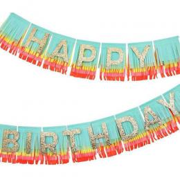 Rainbow Happy Birthday Fringe Garland