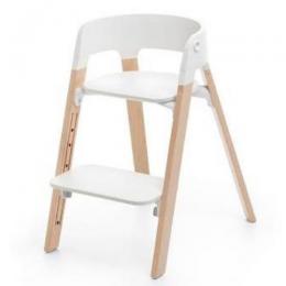 Steps High Chair - White Natural