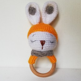 Wooden Orange Bunny Rattle