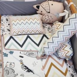 Organic Cot Bedding Set - Woodland Friends with Fox Plush Pillow