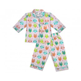 Cute Doodle Owl Nightsuit - Adults