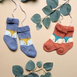 Foxy Baby Hi Fold Socks - Orange And Blue
