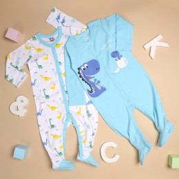 Mommy's Favourite Dino Sleep Suit - 2 pack