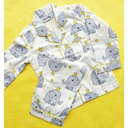 Crowned Elephants Pyjama Set - For Adult