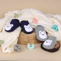 Cutie Bear Grey And Blue Socks - 2 pack