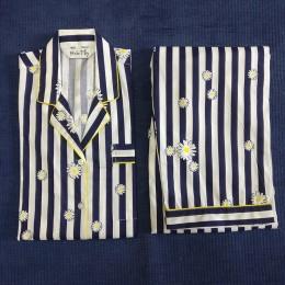 Floral Strips Pyjama Set - For Adults
