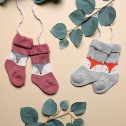 Foxy Baby Hi fold Socks - Red And Grey