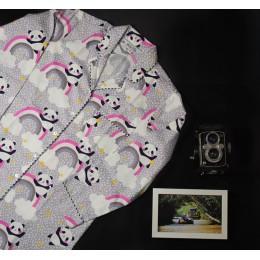 Grey Panda Pyjama Set - For Kids