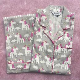 Grey Unicorns Pyjama Set - For Kids
