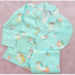 Sea Green Unicorns Pyjama Set - For Kids
