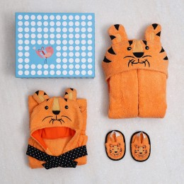 Spa Time New Born Gift Set Tiger  With Hooded Towel