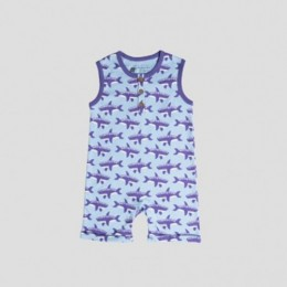 Whale Sleeveless Romper in Orchid