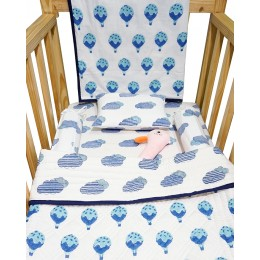 Fly Away Blue Hand Block Print Crib Bedding with Hand Quilt