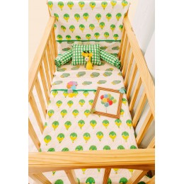 Fly Away Green n Yellow Hand Block Print Crib Bedding with Hand Quilt