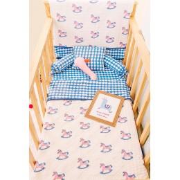 Lakhdi ki Kathi Pink Blue crib bedding set with dohar blanket
