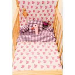 Pink Dreamy Ele Hand Block Print Crib Bedding Set with Hand Quilt